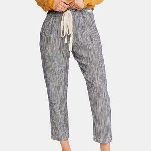 Free People Stripe Drawstring Cropped Pants
